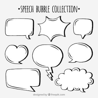 Zestaw ręcznie rysowanych mowy pęcherzyków