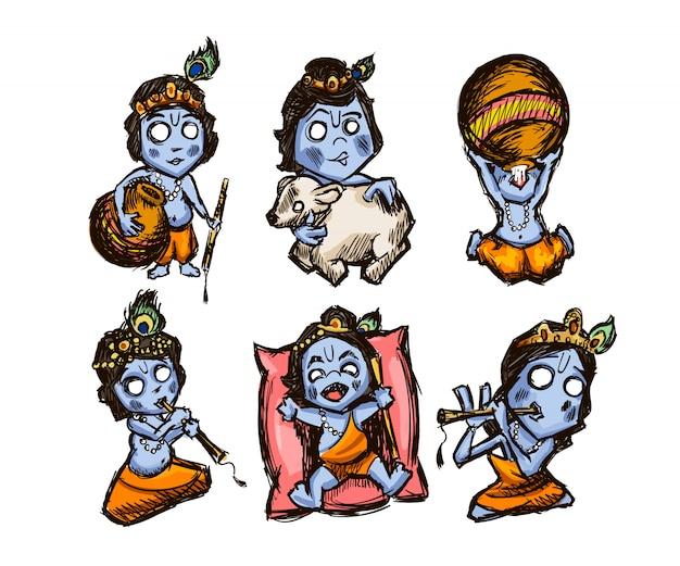 Zestaw ręcznie rysowanych naklejek z kryszną na wakacje krishna janmashtami. na białym tle. ilustracja.
