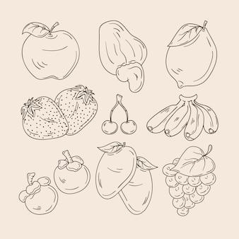 Zestaw ręcznie rysowanych owoców