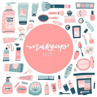Zestaw ręcznie rysowanych przedmiotów kosmetycznych i wellness. obiekty do projektowania z niestandardowym napisem. kolekcja makijażu i kosmetyków. kompozycja widoku z góry. ręcznie rysowane płaska ilustracja.
