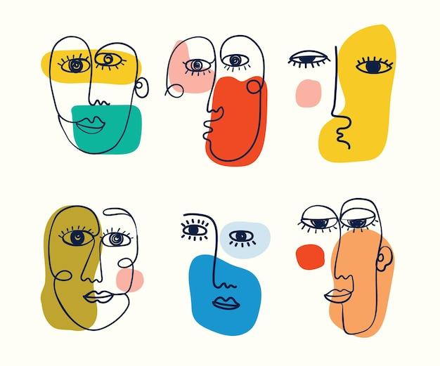 Zestaw ręcznie rysowanych różnych twarzy kształtów i obiektów doodle abstrakcyjne współczesne nowoczesne wektor ilustr...