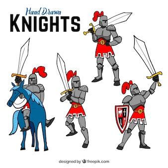 Zestaw ręcznie rysowanych rycerzy z mieczem