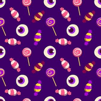 Zestaw ręcznie rysowanych słodyczy na wzór halloween