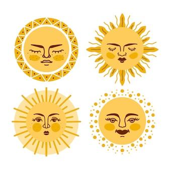 Zestaw ręcznie rysowanych słońc z twarzami