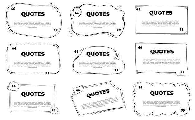 Zestaw ręcznie rysowanych szablonów cytatów