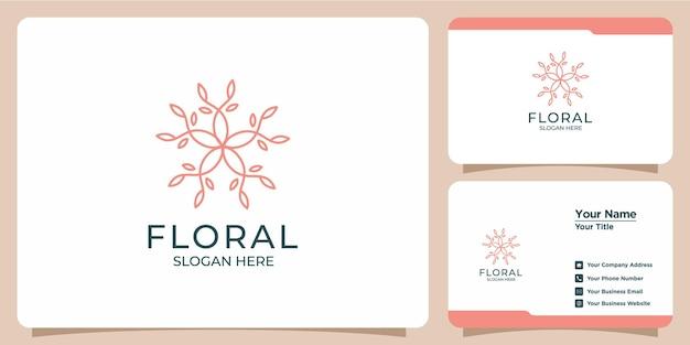 Zestaw ręcznie rysowanych szablonów logo kwiatowy dla piękna i wizytówek