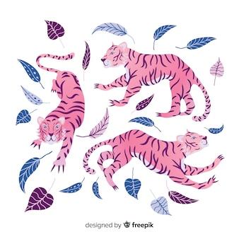 Zestaw ręcznie rysowanych tygrysów