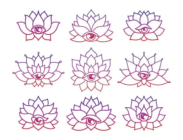 Zestaw ręcznie rysowanych wzorów tatuaży z kwiatem lotosu z trzecim okiem