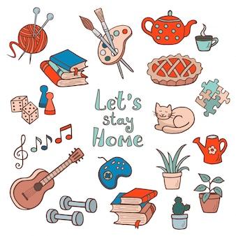 Zestaw ręcznie rysowanych zajęć domowych, hobby. slogan: zostań w domu