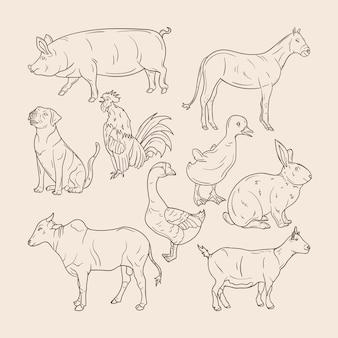 Zestaw ręcznie rysowanych zwierząt gospodarskich
