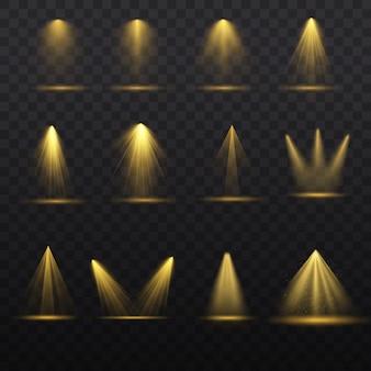 Zestaw reflektorów na białym tle na przezroczystym tle. wiązka światła, podświetlane reflektory do projektowania stron internetowych i projekcji światła studio wiązka koncertowa scena klubowa oświetlenie sceny. efekty świetlne. wektor
