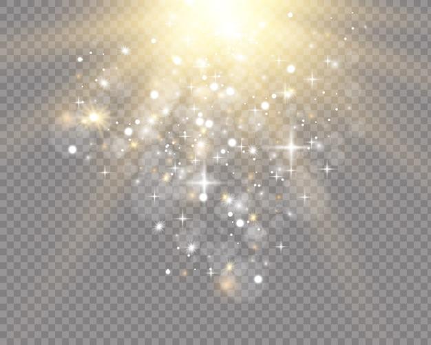 Zestaw reflektorów na białym tle. wektor świecące efekt świetlny z złote promienie i belki