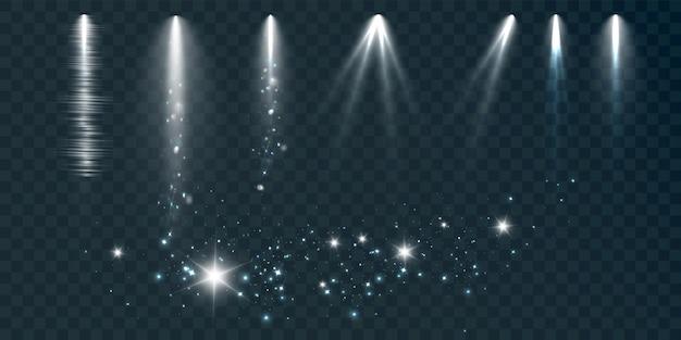 Zestaw reflektorów na czarnym tle z dymem i iskrami ilustracji wektorowych
