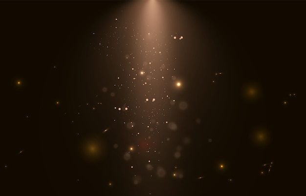 Zestaw reflektorów na przezroczystym tle wektor świecący efekt świetlny ze złotymi promieniami