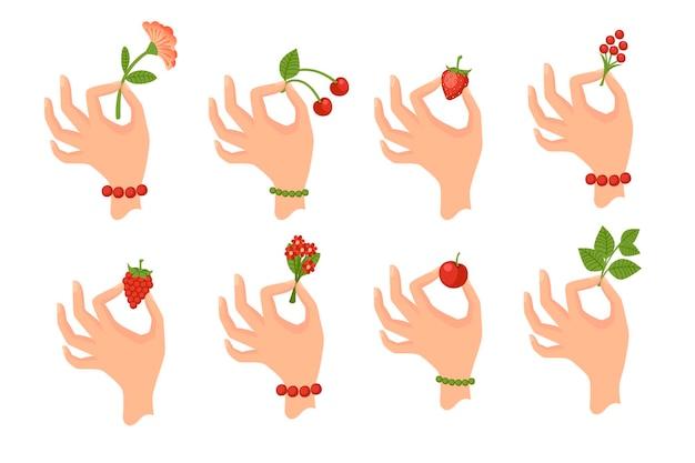 Zestaw ręki trzymającej jagody lub liście płaskie wektor ilustracja na białym tle.