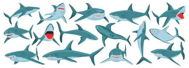 Zestaw rekinów morskich na białym tle
