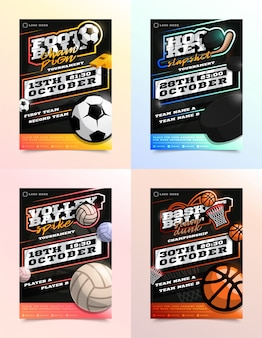 Zestaw reklam sport flyer. piłka nożna, piłka nożna, hokej, siatkówka, koszykówka