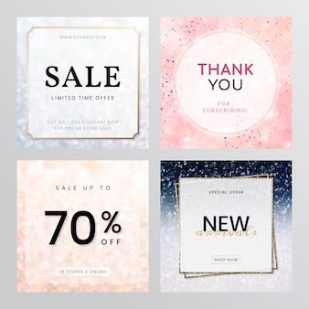 Zestaw reklam zakupów i sprzedaży