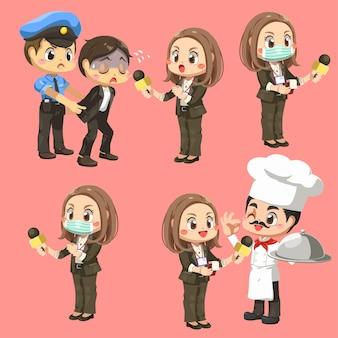 Zestaw reporterki trzymającej mikrofon do wywiadów z przestępcą i szefem kuchni, aby przekazać wiadomości w postaci z kreskówek, izolowana płaska ilustracja