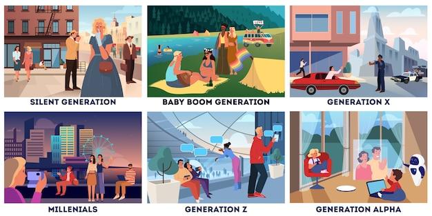 Zestaw reprezentacji różnych pokoleń. pojęcie grup społecznych, typ pokoleniowy. cichy, boomer, x, millenial, z i alpha. zestaw ilustracji