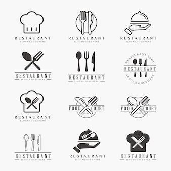 Zestaw restauracja, jedzenie, kawiarnia szablon logo
