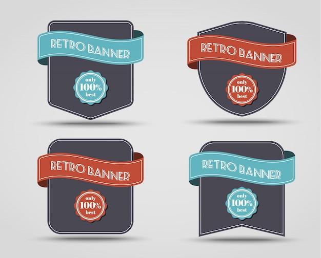 Zestaw retro banerów (etykiety)