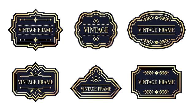 Zestaw retro czarnych etykiet z rocznika złotej ramie. inny kształt naklejki przywieszki, menu