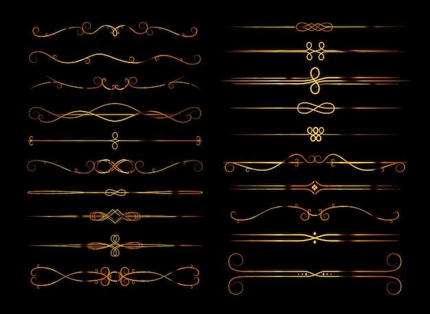 Zestaw retro dzielników strony kaligraficzne w kolorze złotym