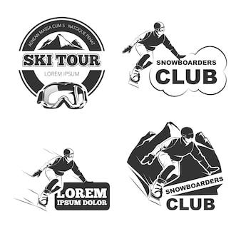 Zestaw retro emblematów narciarskich, odznaki i logo.
