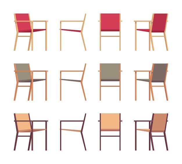 Zestaw retro foteli w różnych kolorach