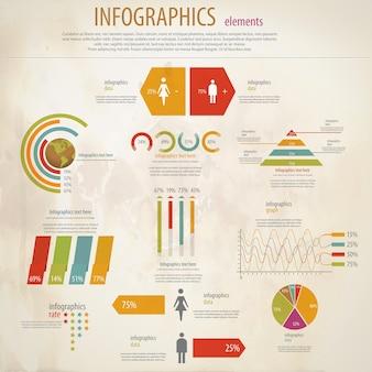 Zestaw retro infografiki. mapa świata i grafika informacyjna.