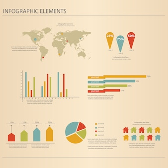 Zestaw retro infografiki.
