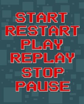 Zestaw retro inny tekst czerwony piksel do gier wideo