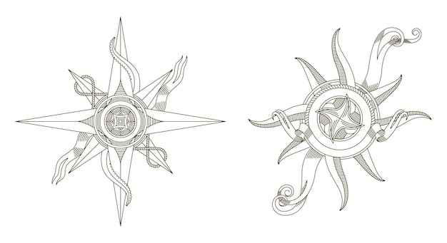 Zestaw retro kompasów morskich. antyczne morskie stare znaki.
