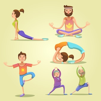 Zestaw retro kreskówka jogi