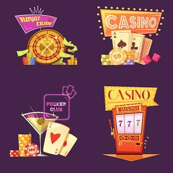 Zestaw retro kreskówka królewski kasyno karty