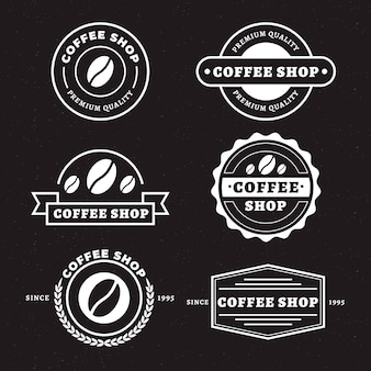 Zestaw retro logo kawiarni