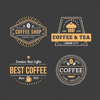 Zestaw retro logo kawy