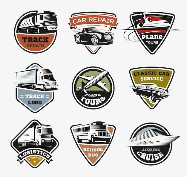 Zestaw retro logo na białym tle transportu