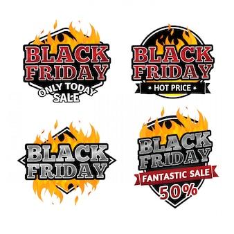 Zestaw retro logo na sprzedaż w czarny piątek.