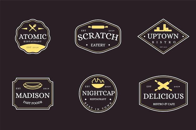 Zestaw retro logo restauracji