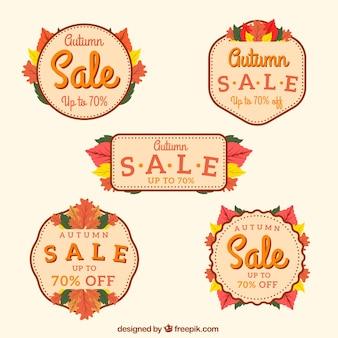 Zestaw retro naklejki sprzedaży jesienią