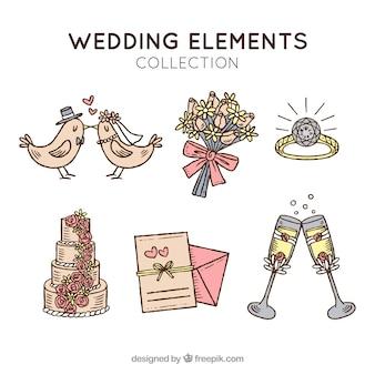 Zestaw retro obiektów ślubnych