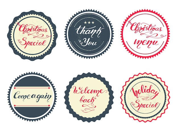 Zestaw retro odznaki z napisem boże narodzenie dla menu. ilustracji wektorowych.