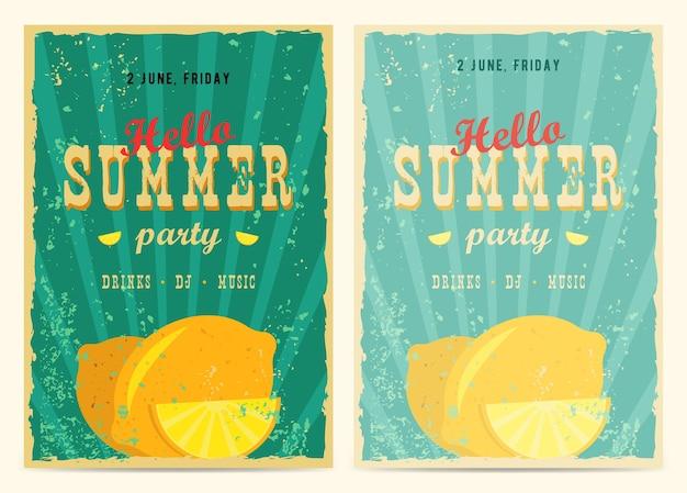 Zestaw retro plakaty wakacje letnie