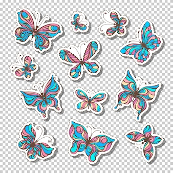 Zestaw retro przyklejonych etykiet z motylami. jasne kolorowe naklejki lub lepkie etykiety na przezroczystym tle. styl lat 80-90-tych.