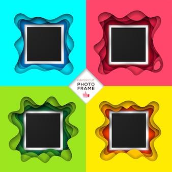 Zestaw retro realistycznej ramki na zdjęcia i kolorowy nowoczesny styl papieru origami.