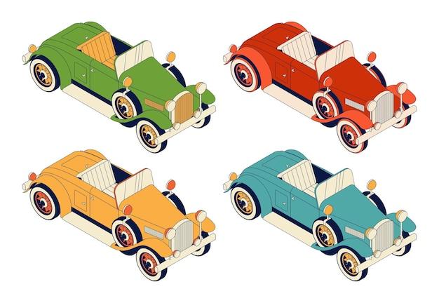 Zestaw retro samochodów cabrio. zabytkowe samochody zielony i czerwony, żółty i niebieski na białym tle