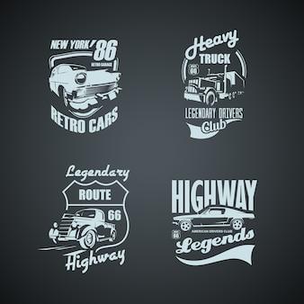 Zestaw retro samochody i trucs vintage logotypes