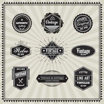 Zestaw retro starodawny znaczek liniowy cienka linia art deco design
